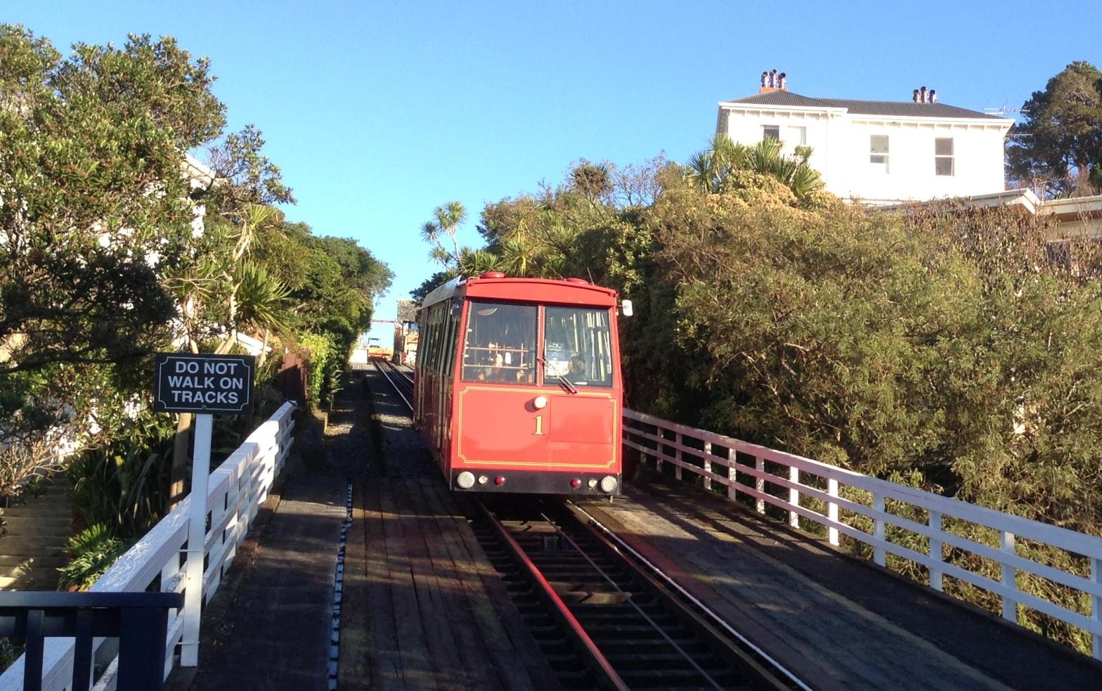 Cable car at Salamanca descending from Kelburn to Lambton Quay